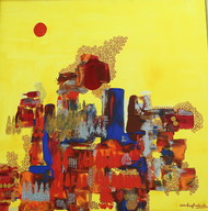 Is Spring Forever? by Alka Raghuvanshi, Abstract Painting, Acrylic on Canvas, Yellow color