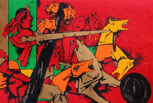 Asoka by M F Husain, Expressionism Serigraph, Serigraph on Paper, Brown color