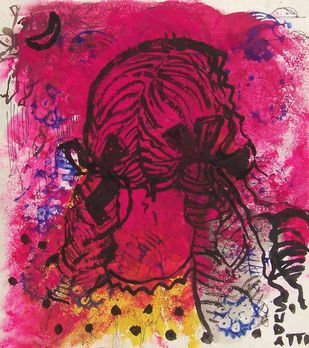 girl by Sudatta Basu, Impressionism Drawing, Mixed Media on Paper, Purple color