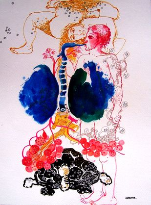 breathing time by Sudatta Basu, Illustration Drawing, Mixed Media on Paper, Pink color