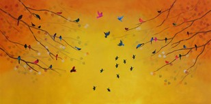 Yellow sky sings Raga Vasant by Priyanka Waghela, Impressionism Painting, Acrylic on Canvas, Orange color