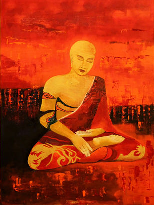 On hallowed ground II by Pratap SJB Rana, Impressionism Painting, Acrylic on Canvas, Red color