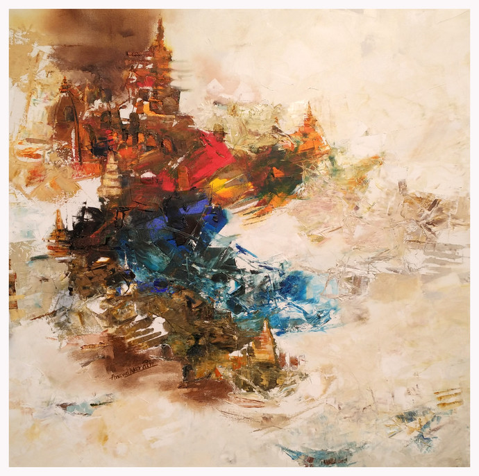 Banaras 14-2015 by Anand Narain, Abstract Painting, Oil on Canvas, Beige color