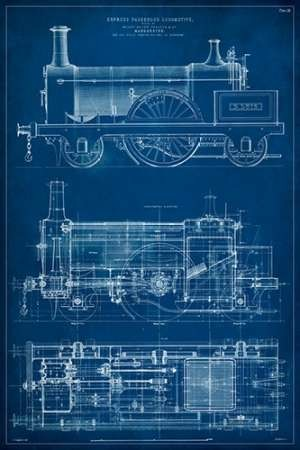 Locomotive Blueprint I Digital Print by Vision Studio,Decorative