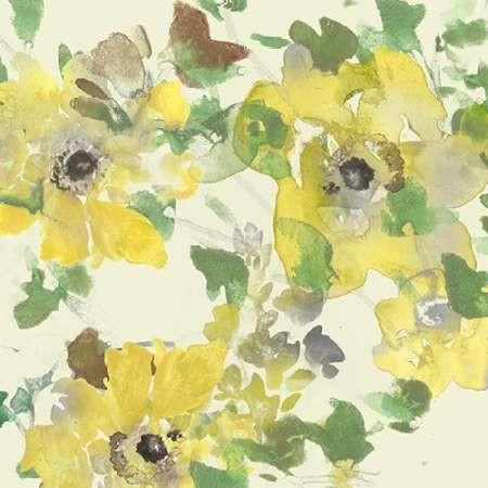Yellow & Grey Blooms II Digital Print by Studio W,Impressionism