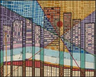 Modern Map of Detroit Digital Print by Galapon, Nikki,Geometrical