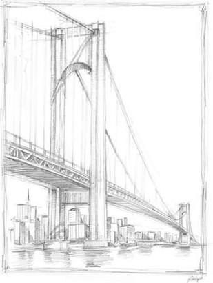 Suspension Bridge Study I Digital Print by Harper, Ethan,Illustration