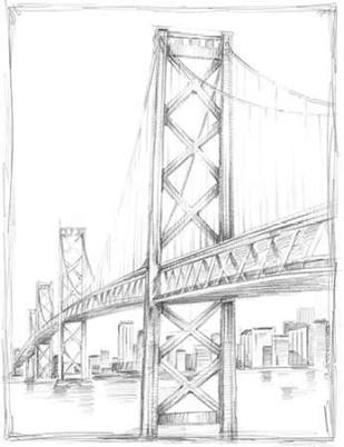 Suspension Bridge Study II Digital Print by Harper, Ethan,Illustration
