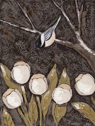 Chickadee and Tulips II Digital Print by Reynolds, Jade,Decorative