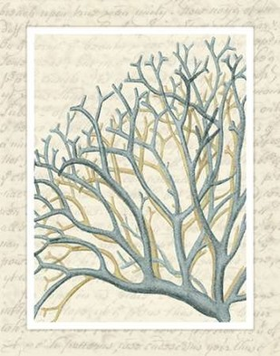 Blue Corals On VIntage Script b Digital Print by Fab Funky,Decorative