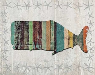 Distressed Wood Style Whale 1 Digital Print by Fab Funky,Decorative