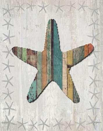Distressed Wood Style Starfish 1 Digital Print by Fab Funky,Decorative