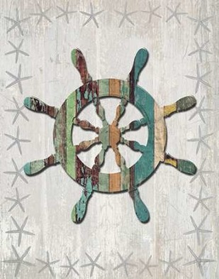 Distressed Wood Style Ships Wheel 1 Digital Print by Fab Funky,Decorative
