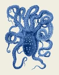 Blue Octopus on Cream a Digital Print by Fab Funky,Decorative