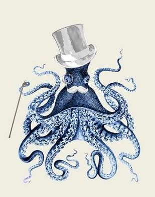 Octopus Print Blue on Cream b Digital Print by Fab Funky,Decorative