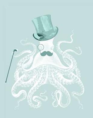 White Octopus on Seafoam b Digital Print by Fab Funky,Decorative