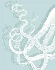 White Octopus on Seafoam c Digital Print by Fab Funky,Decorative, Decorative
