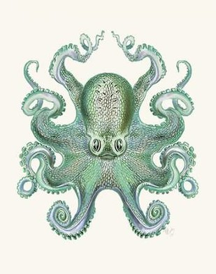 Turquoise Octopus and Squid a Digital Print by Fab Funky,Decorative