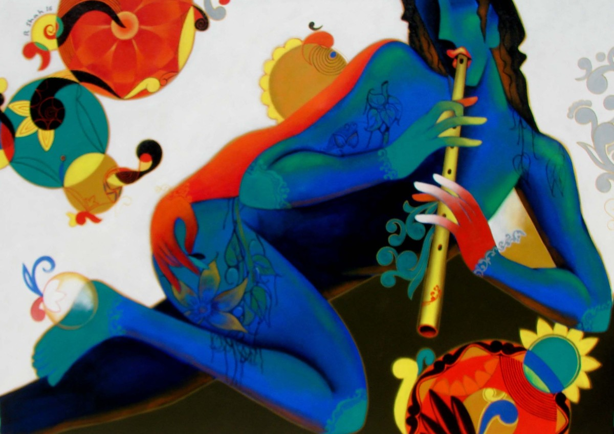Playfull melody by Rajesh Shah, Decorative Painting, Acrylic on Canvas, Blue color