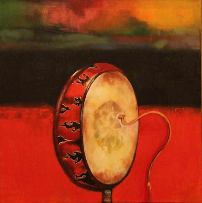 Divine Resonance - Tang Du, the Tibetan prayer drum by Pratap SJB Rana, Decorative Painting, Acrylic on Canvas, Brown color