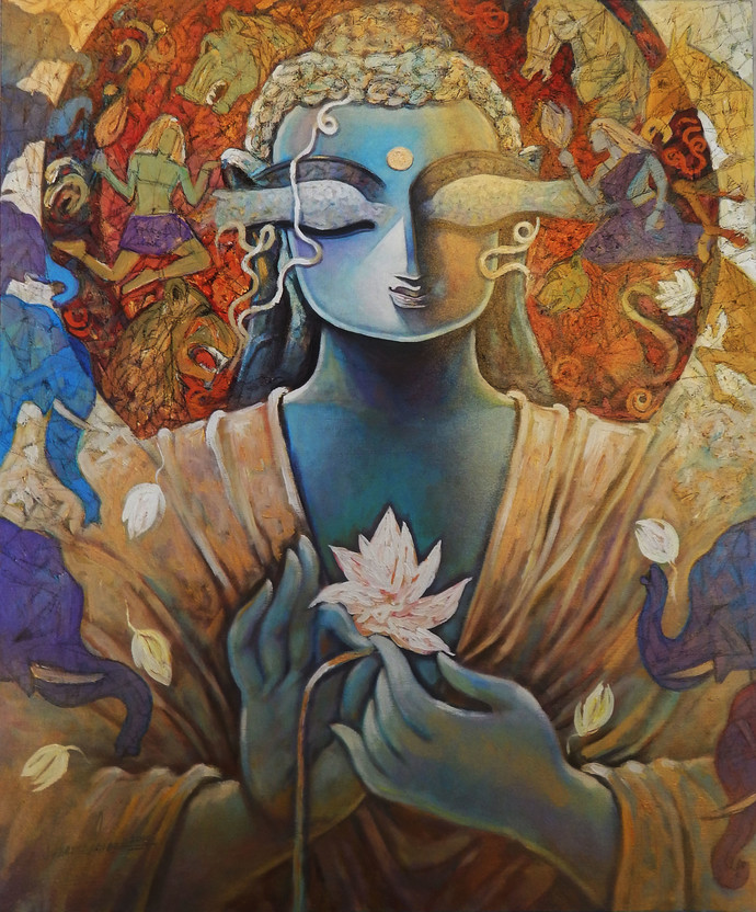 PEACE by Subrata Ghosh, Decorative Painting, Acrylic on Canvas, Brown color