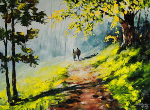 Winter Morning by Mopasang Valath, Impressionism Painting, Acrylic on Canvas, Green color