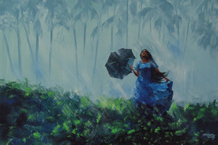 She And Rain by Mopasang Valath, Impressionism Painting, Acrylic on Canvas, Green color