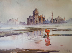 Pyasa Din by Mopasang Valath, Impressionism Painting, Watercolor on Paper, Brown color