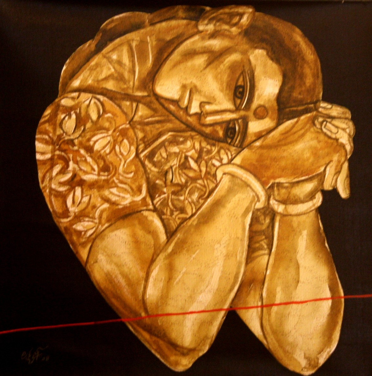 Untitled by Laxman Aelay, Expressionism Painting, Acrylic on Canvas, Brown color