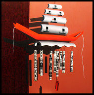 City on Chime by Shovin Bhattacharjee, Decorative Painting, Acrylic on Canvas, Brown color