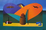 Untitled by Babu Eshwar Prasad, Fantasy Painting, Acrylic on Paper, Green color