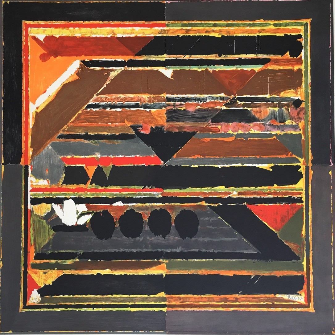 Untitled by S H Raza, Geometrical Printmaking, Lithography on Paper, Brown color