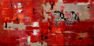 The past by Gita Hudson, Abstract Painting, Oil on Canvas, Red color