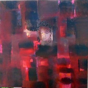 Buddha by Gita Hudson, Abstract Painting, Oil on Canvas, Brown color