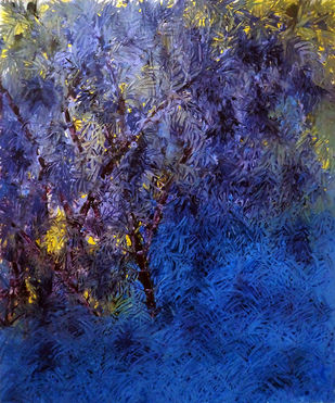 blue forest by Palash chandra naskar, Impressionism Painting, Acrylic on Board, Blue color
