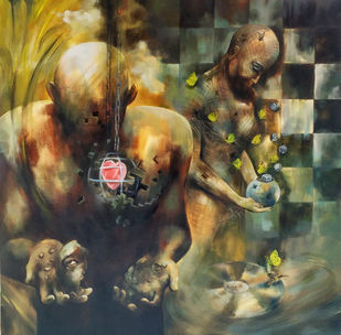 The Broken Halves by Shambhu Nath Goswami, Fantasy Painting, Acrylic on Canvas, Brown color