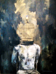 Unlocked by Shambhu Nath Goswami, Fantasy Painting, Acrylic on Canvas, Gray color