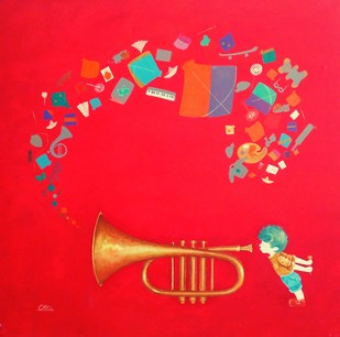 memories of the childhood by shiv kumar soni, Expressionism, Fantasy Painting, Acrylic on Canvas, Red color
