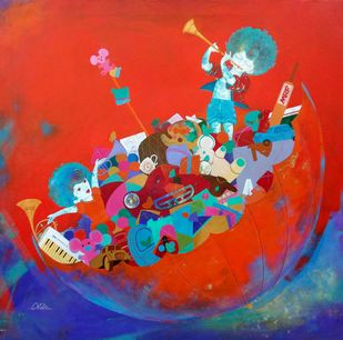 the treasure of childhood by shiv kumar soni, Expressionism, Fantasy Painting, Acrylic on Canvas, Red color