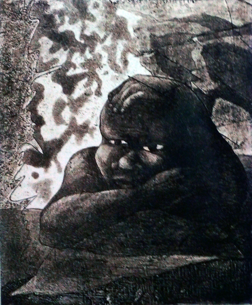 Ups and Down 5 by Pranjal Bhuyan, Decorative Printmaking, Etching and Aquatint, Gray color