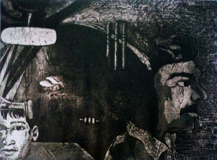 Ups and Down 8 by Pranjal Bhuyan, Decorative Printmaking, Etching and Aquatint, Gray color