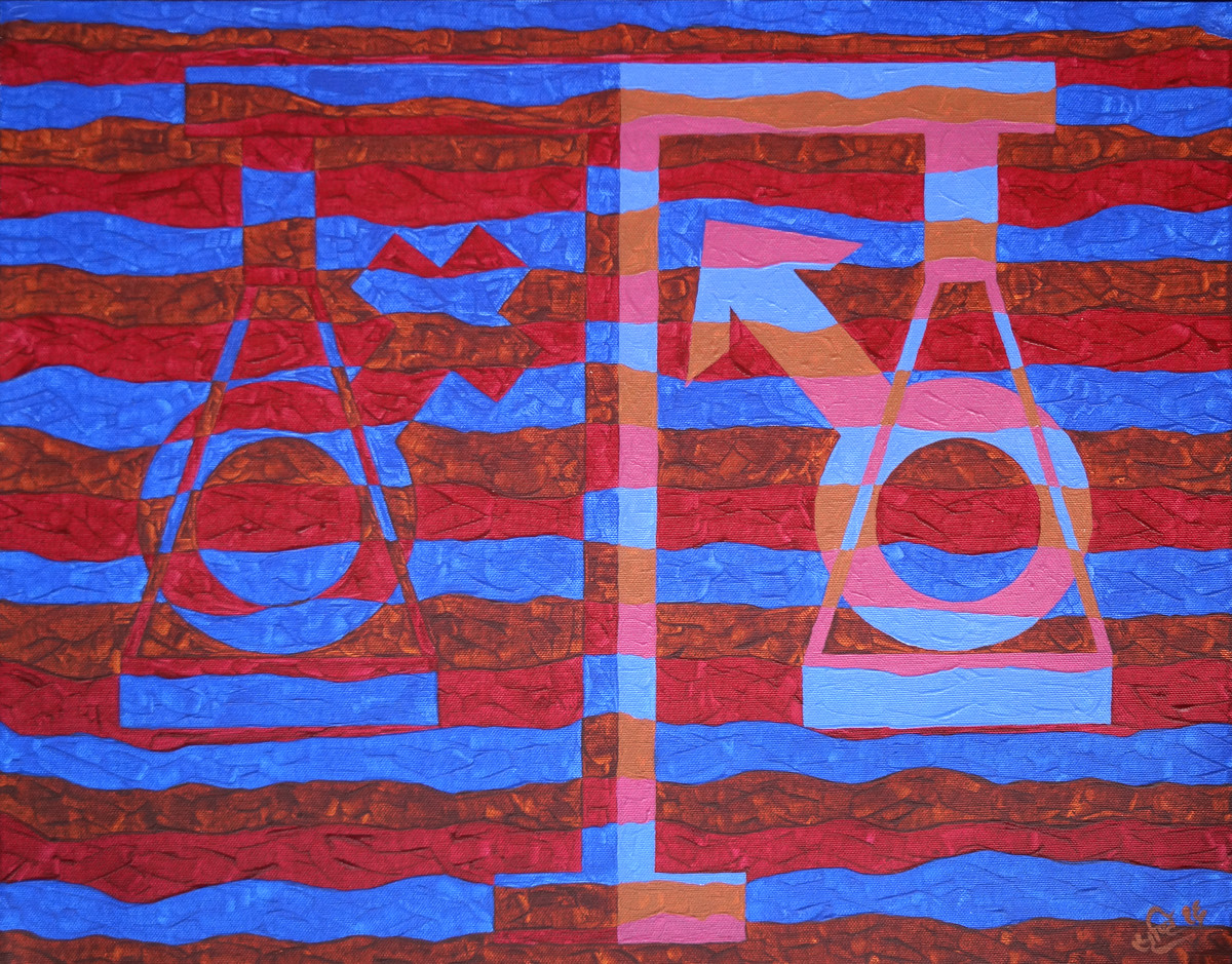 Objectify - Equality by Srushti Rao, Op Art Painting, Acrylic on Canvas, Purple color
