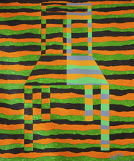 Objectify - Rest by Srushti Rao, Op Art Painting, Acrylic on Canvas, Green color