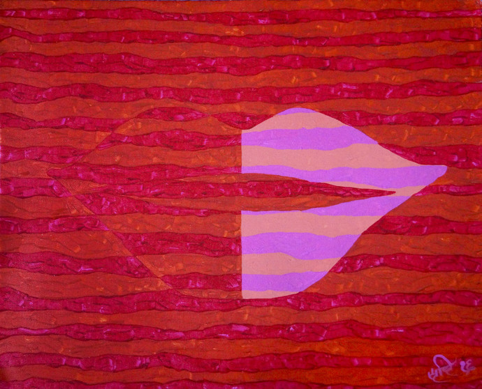 Objectify - The Kiss by Srushti Rao, Op Art Painting, Acrylic on Canvas, Red color