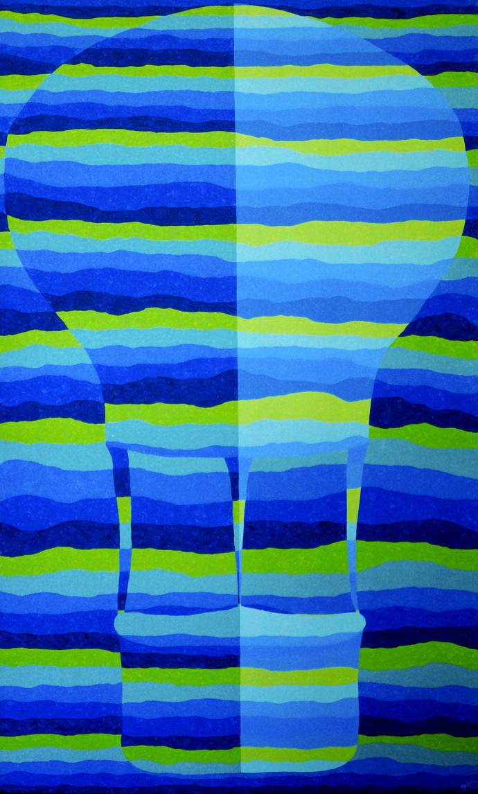 Objectify - Ambition by Srushti Rao, Op Art Painting, Acrylic on Canvas, Blue color