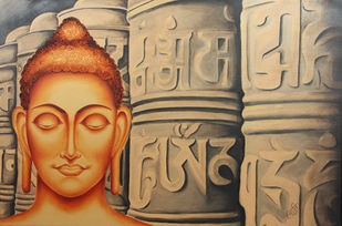 PRAYER AND PEACE by Swati Joshi Phatak, Traditional Painting, Mixed Media on Canvas, Brown color