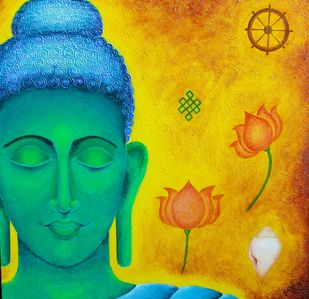 THOUGHTFUL by Swati Joshi Phatak, Traditional Painting, Acrylic on Canvas, Green color