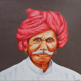 PRIDE (EXPRESSION SERIES) by Swati Joshi Phatak, Traditional Painting, Acrylic on Canvas, Brown color