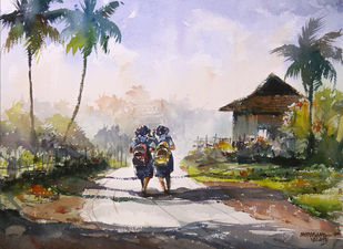 Two Sparrows by Mopasang Valath, Impressionism Painting, Watercolor on Paper, Pink color