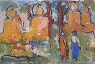 The Monk and I by John Tun Sein, Impressionism Drawing, Oil Pastel on Canvas, Brown color